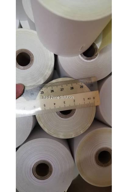 1 box(100pcs) 2ply Dot Matrix Paper Roll for Receipt Printer : 76mm x 65mm