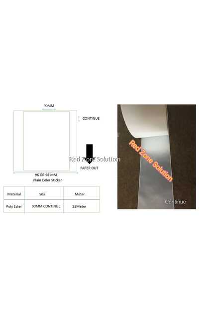 90mm Width Silver / Transparent Waterproof Continues Label Sticker